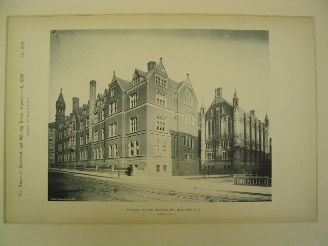 Columbia College, Madison Ave., New York, NY, 1886, C. C. Haight