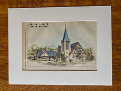 Grove Hall Universalist Society, Dorchester, MA, 1894, Original Hand Colored -