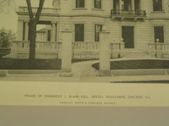 House of Chauncey J. Blair, Drexel Boulevard, Chicago, IL, 1897, Shepley, Rutan & Coolidge