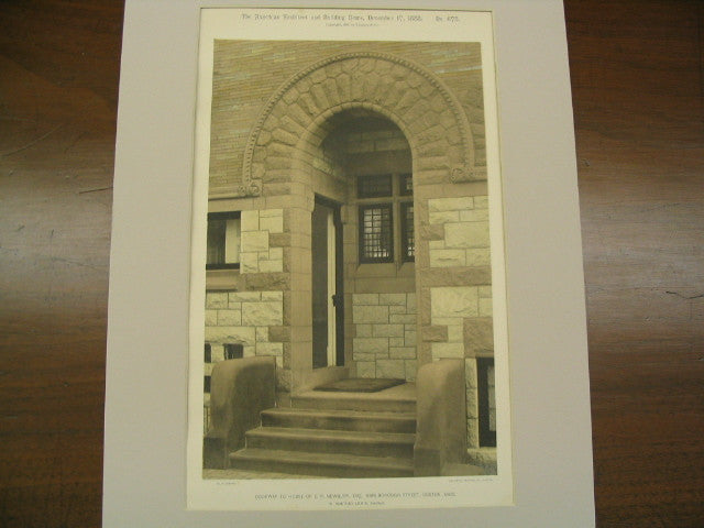 Doorway to House of E. P. Newbury on Marlborough St., Boston, MA, 1888, W. Whitney Lewis