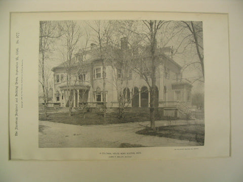 A Colonial House, Boston, MA, 1894, James T. Kelly
