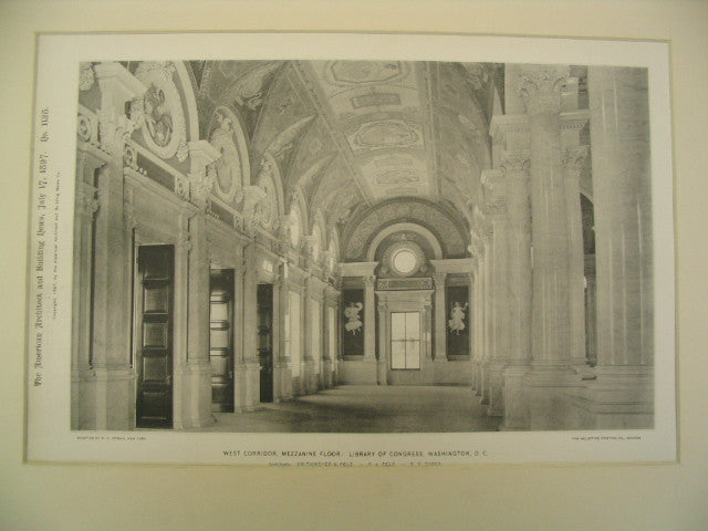 West Corridor, Mezzanine Floor: Library of Congress, Washington, DC, 1897, Smithmeyer, Pelz and Casey