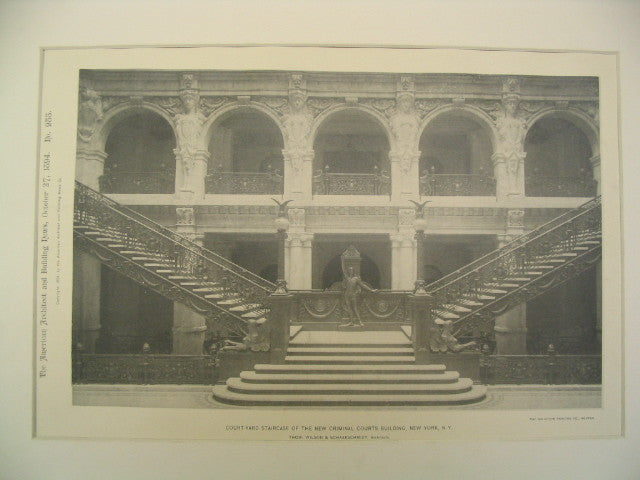 Court-Yard Staircase of the New Criminal Courts Building, New York, NY, 1894, Thom. Wilson and Schaarschmidt