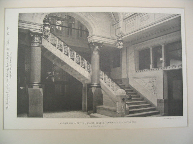 Staircase Hall in the John Hancock Building on Devonshire Street, Boston, MA, 1891, W. G. Preston