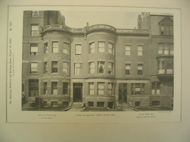 Houses on Marlboro' St. for W. Simes and C. H. Tilton, Boston, MA, 1890, J. A. Fox and Cabot & Chandler