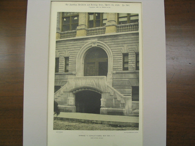 Entrance to Berkely School, New York, NY, 1892, Lamb and Rich