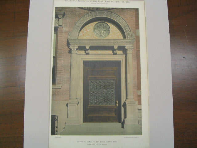 Doorway on Commonwealth Avenue, Boston, MA, 1888, McKim, Mead and White