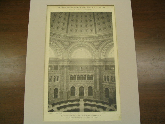 Bay of the Rotunda: Library of Congress, Washington, DC, 1897, Simthmeyer, Pelz, and Casey
