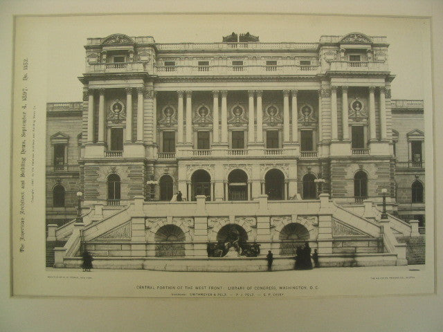 Central Portion of the West Front: Library of Congress, Washington, DC, 1897, Smithmeyer, Pelz, and Casey