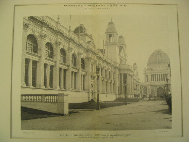 West Front of Electricity Building and North Front of Administration Building at the World's Columbian Exhibition, Chicago, IL, 1894, Van Brunt & Howe and R. M. Hunt