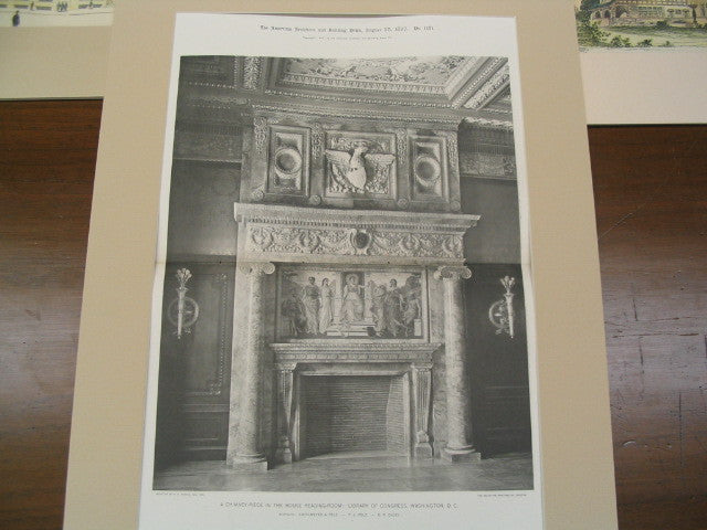 A Chimney-Piece in the House Reading Room: Library of Congress, Washington, DC, 1897, Smithmeyer, Pelz, and Casey