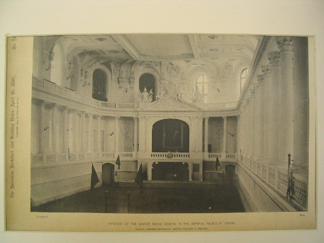 Interior of the Winter Riding School at the Imperial Palace, Vienna, Austria, EUR, 1890