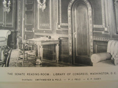 Senate Reading-Room at the Library of Congress, Washington, DC, 1898, Smithmeyer, Pelz and Casey