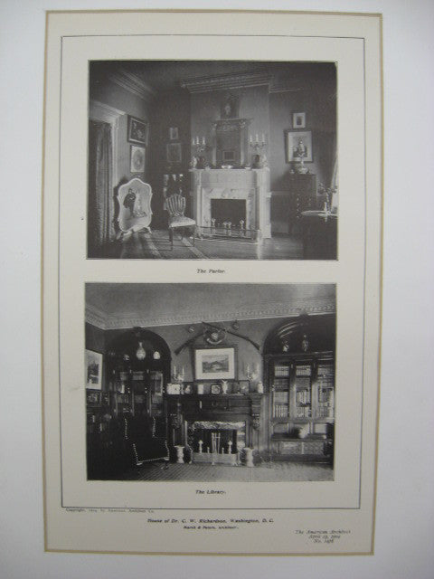 Parlor and Library at the House of Dr. C. W. Richardson, Washington, DC, 1904, Marsh and Peters