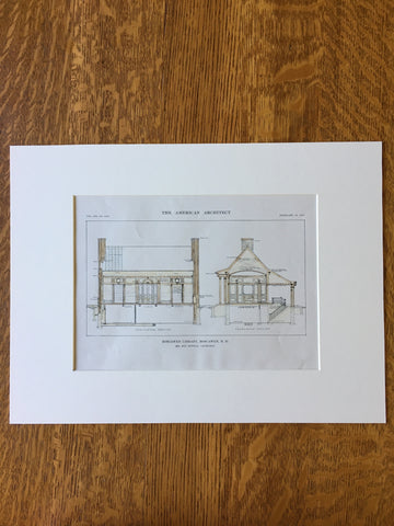 Boscawen Library, Boscawen, NH, 1916, Guy Lowell, Original, Hand Colored, Hand Colored