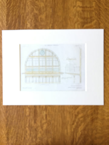 Fort Garry Station, Front Window, Winnipeg, Manitoba, Canada, Original Plan, Hand Colored