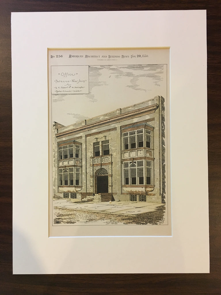 Hobart & Pennington Offices, Paterson, NJ, 1880, Original, Hand Colored