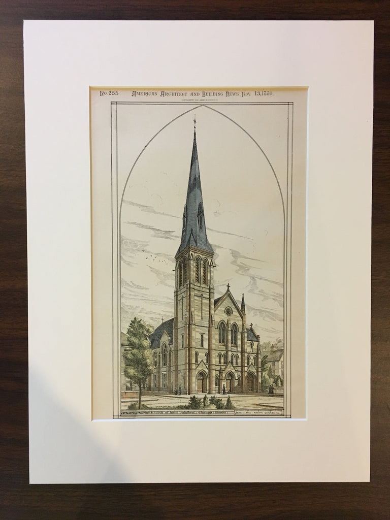 Church St Adalbert, Chicago, IL, 1880, Egan & Hill, Original, Hand Colored