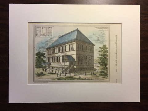 New Gymnasium, St Paul's School, Concord, NH, 1878, Original Hand Colored