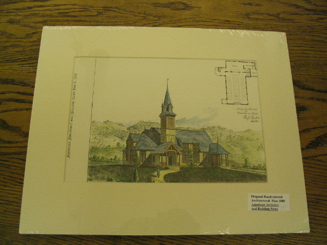 Design for Church in Wilbraham, Mass, Wilbraham, MA, 1879, Ferry & Gardner