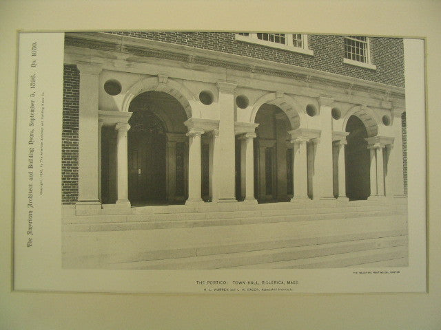 Portico at the Town Hall, Billerica, MA, 1896, H. L. Warren and L. H. Bacon