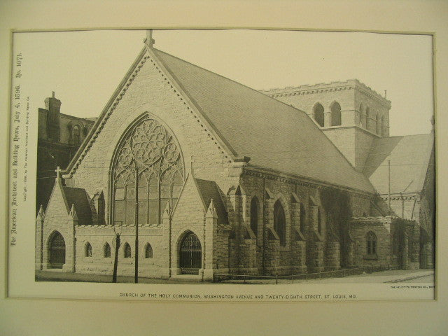 Church of the Holy Communion on Washington Ave. and 28th St., St. Louis, MO, 1896