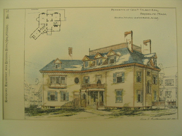Residence of George N. Talbot, Brookline, MA, 1886, Bradlee, Winslow and Wetherell
