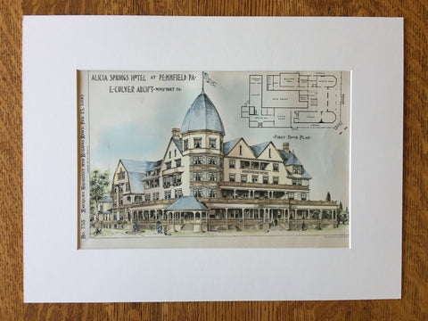 Alicia Springs Hotel, Pennfield, PA, 1890, E Cluver, Original Hand Colored