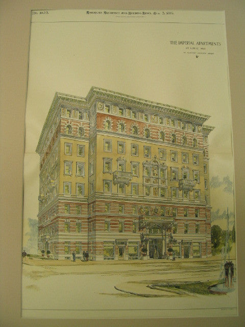 The Imperial Apartments, St. Louis, MO, 1895, W. Albert Swasey