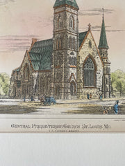 Central Presbyterian Church, St. Louis, MO, 1876, C K Ramsey, Original Hand Colored