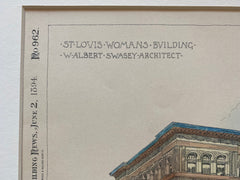 St. Louis Womans Building, St. Louis, MO, 1894, Albert Swasey, Original Hand Colored