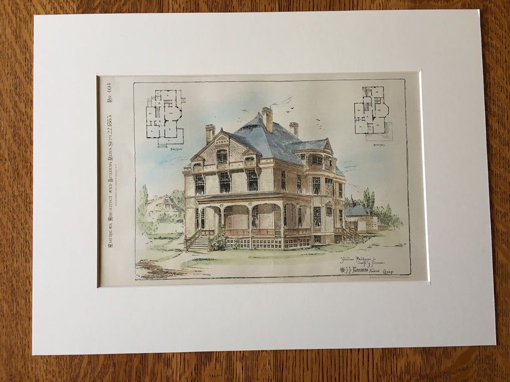 Suburban Residence, F S James, Chicago, IL, 1883, Original Plan Hand Colored