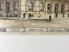 US Court House & Post Office, Quincy, IL, 1883, Jame G Hill, Original Plan