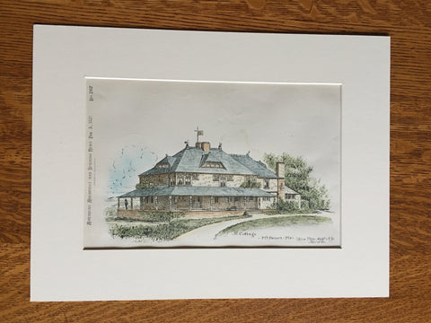 Cottage, Mt Desert, ME, 1881, Bruce Price, Archt., Original Plan, Hand Colored