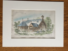 Chapel, Mt Desert, ME, 1881, G Moffetts, Archt., Original Plan, Hand Colored
