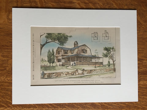 Cottage, F W Sprague, Kennebunkport, ME, 1882, Clark & Lewis, Original Plan Plan Hand-colored