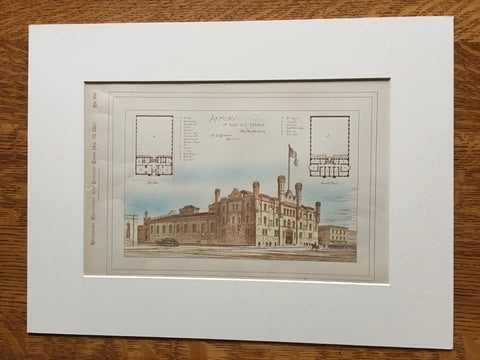 Armory, 1st Regiment, Philadelphia, PA, 1882, Original Plan Hand-colored