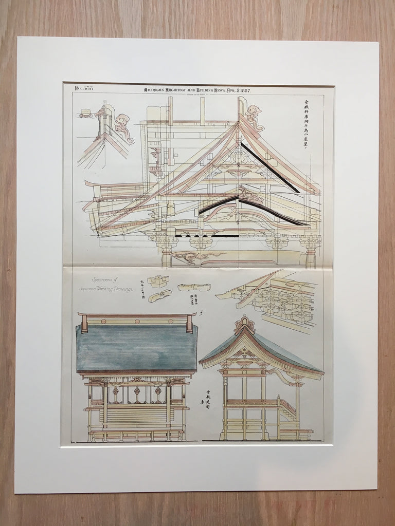Japanese Architectural Drawings, 1887, Original, Hand Colored
