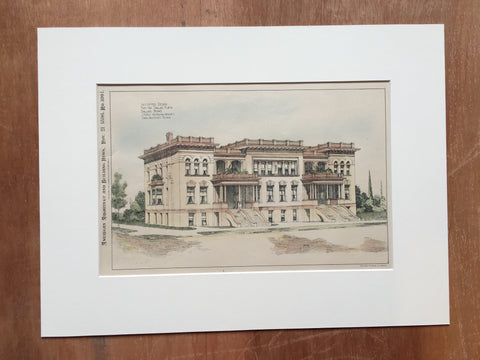 Dallas Flats, Dallas, TX, 1896, J Riely Gordon, Original, Hand Colored