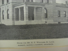 House for E. F. Williams, St. Louis, MO, 1898, Barnett, Haynes and Barnett