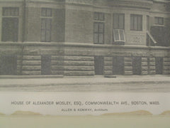 House of Alexander Mosley on Commonwealth Avenue, Boston, MA, 1887, Allen and Kenway