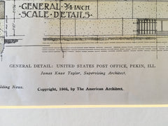 US Post Office, Pekin, IL, 1905, James Knox Taylor, Original, Hand Colored