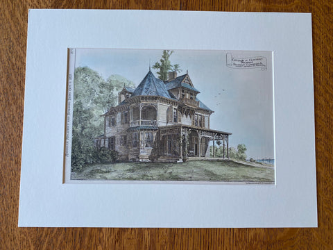 Cottage at Claymont, Delaware, 1878, T P Chandler, Original Hand Colored -