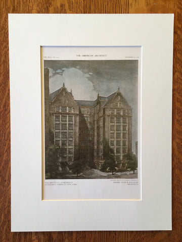 Britannia Apartments, Cathedral Pkwy, NY, 1909, Original, Hand Colored