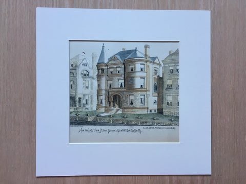 House, Alice Bacon, 4th Ave, Louisville, KY, 1889, Hand Colored Original