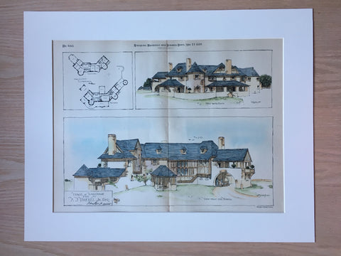 A J Drexell House, Lansdown, PA, 1889, Hand Colored Original Plan