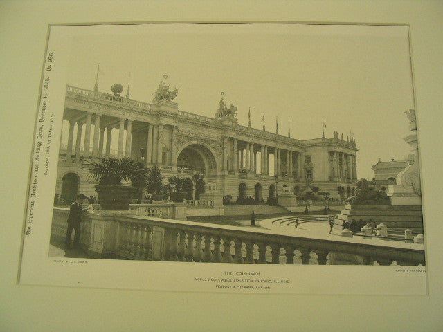 Colonnade at the World's Columbian Exhibition in Chicago, Chicago, IL, 1893, Peabody and Stearns