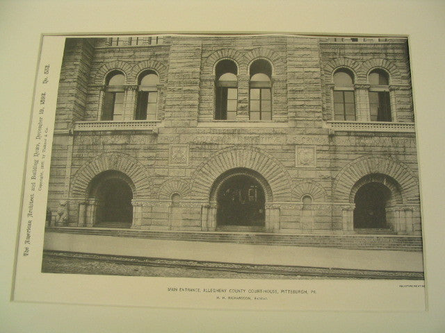 Main Entrance of the Allegheny County Courthouse, Pittsburgh, PA, 1892, H. H. Richardson