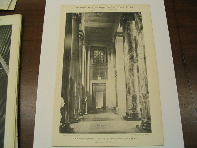 Ambulatory Corridor at the Library of Columbia University, New York, NY, 1898, McKim, Mead and White