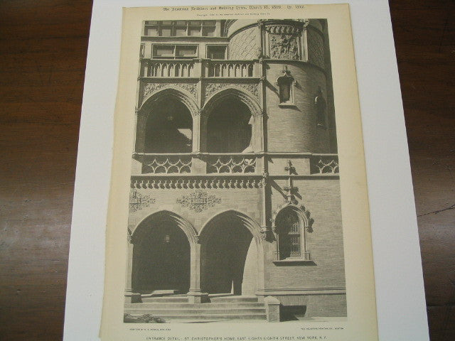 Entrance of St. Christopher's Home on East 88th Street, New York, NY, 1899, Barney and Chapman